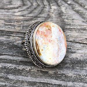 Genuine Ocean Jasper Gemstone Sterling Silver Ring